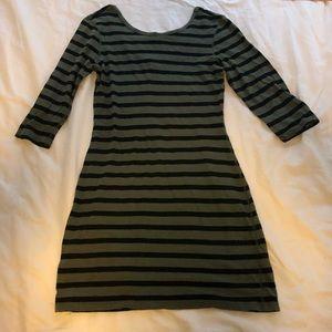 Express Green & Black Striped Dress Sz L